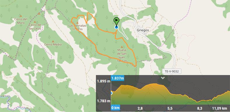 Mapa esquí de fondo en Grigegos